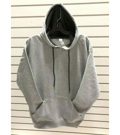 BW ATTIRE: PULLOVER FLEECE (SWEATSHIRT) - CONTRAST CHARCOAL HOODED with KANGAROO POUCH POCKET