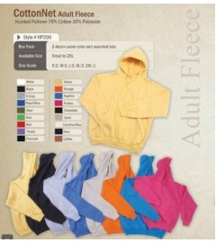 CottonNet, Adult Fleece Hooded Pullover, 70% Cotton/30% Polyester