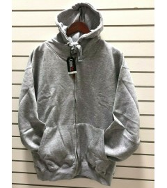 COTTONNET: MEN'S SUPREME HEAVY WEIGHT FLEECE - FULL-ZIP HOODED JACKET - GREY