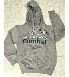 CARNIVAL PRINTED FLEECE HOODED PULLOVER KANGAROO POUCH POCKET - CHARCOAL