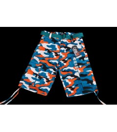 CottonNet, Men's Blue-Orange-Black-White Cargo Shorts